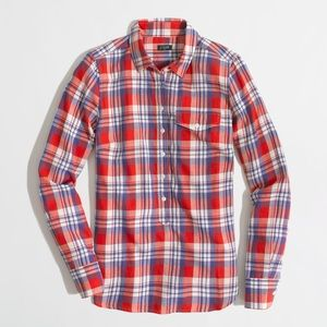 J. Crew Factory Plaid Popover Shirt Modern Red S